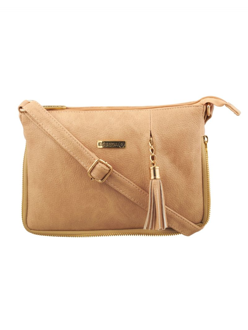 Buy Esbeda Beige Solid Pu Synthetic Fabric Slingbag For Women online