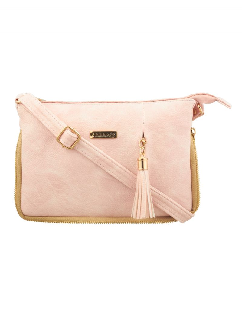 Buy Esbeda Light Pink Solid Pu Synthetic Fabric Slingbag For Women online