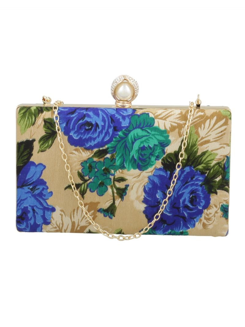 Buy Esbeda Gold-blue Floral Print Pu Synthetic Fabric Clutch For Women online