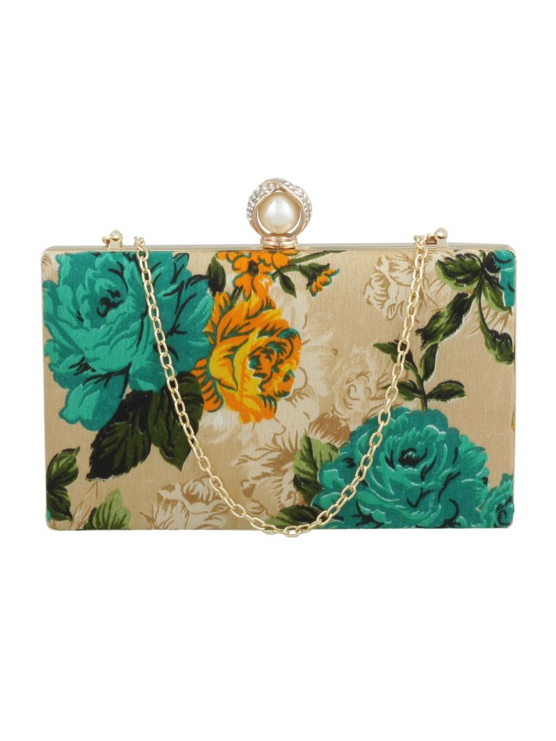 Buy Esbeda Gold-green Floral Print Pu Synthetic Fabric Clutch For Women online