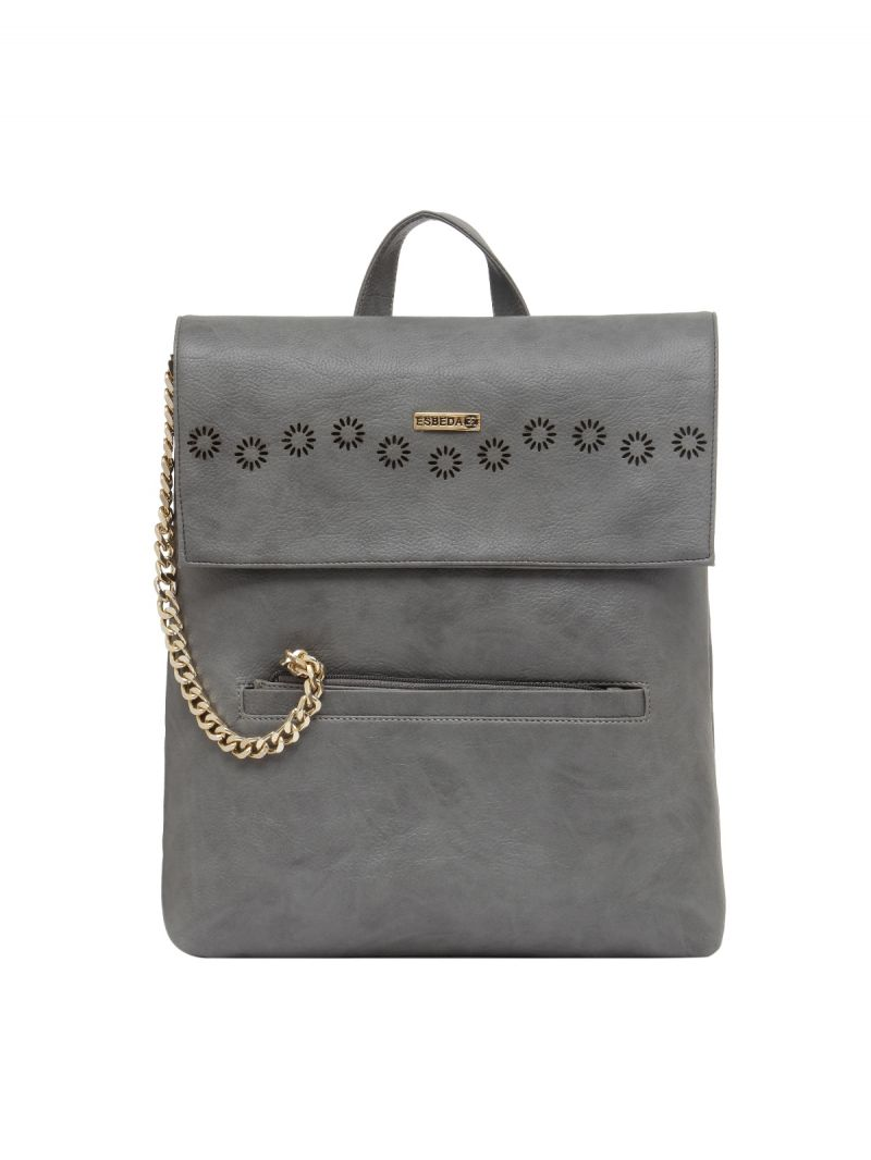 Buy Esbeda Grey Solid Pu Synthetic Fabric Bagpack For Women online