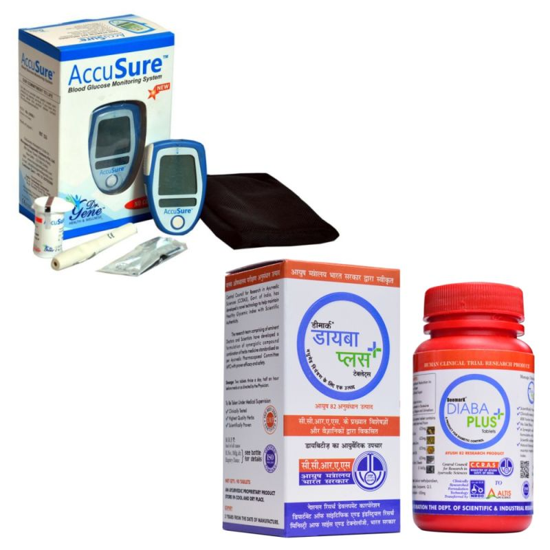 Buy Deemark Accusure Blood Sugar Monitor System With 25 Test Strips And Diaba Plus-90 Tab online