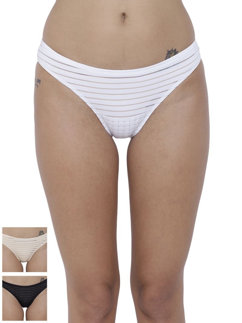 Buy Basiics By La Intimo Women's Travieso Naughty Brief Panty (Combo Pack of 3) online