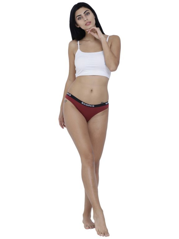 Buy Maroon Basiics By La Intimo Women's Dulce Candy Brief Panty online