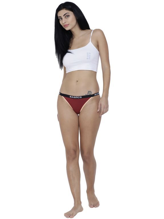 Buy Maroon Basiics By La Intimo Women's Fashionable Brief Panty online