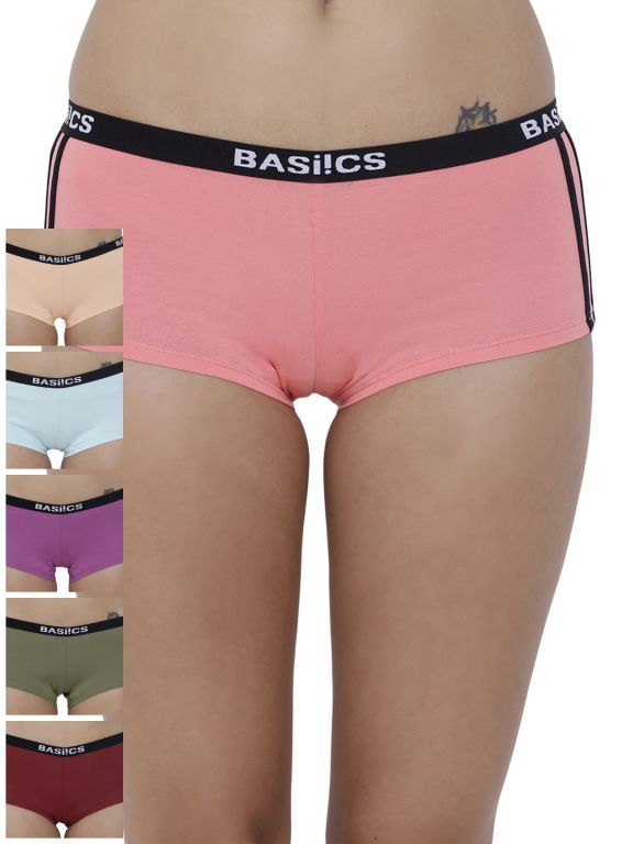 Buy Basiics By La Intimo Women's Alegria Joy Boyshort Panty (Combo Pack of 6 ) online