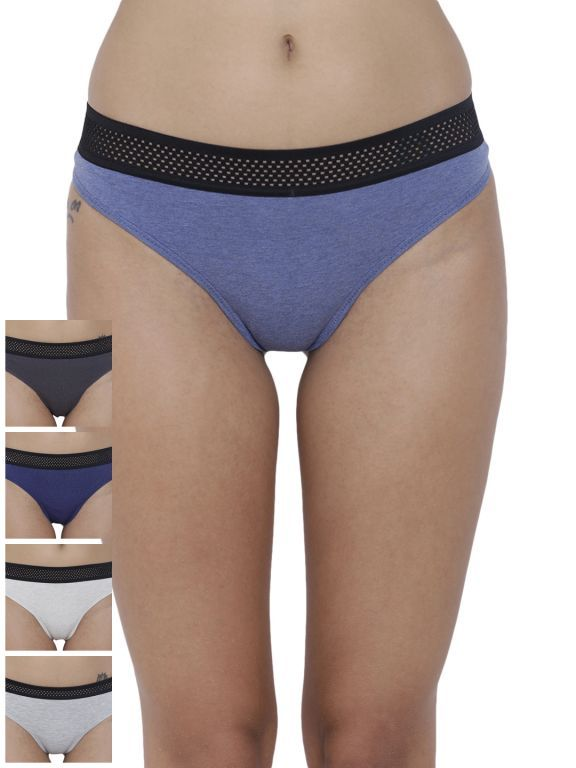 Buy Basiics By La Intimo Women's Bonita Pretty Thong Panty (Combo Pack of 5 ) online
