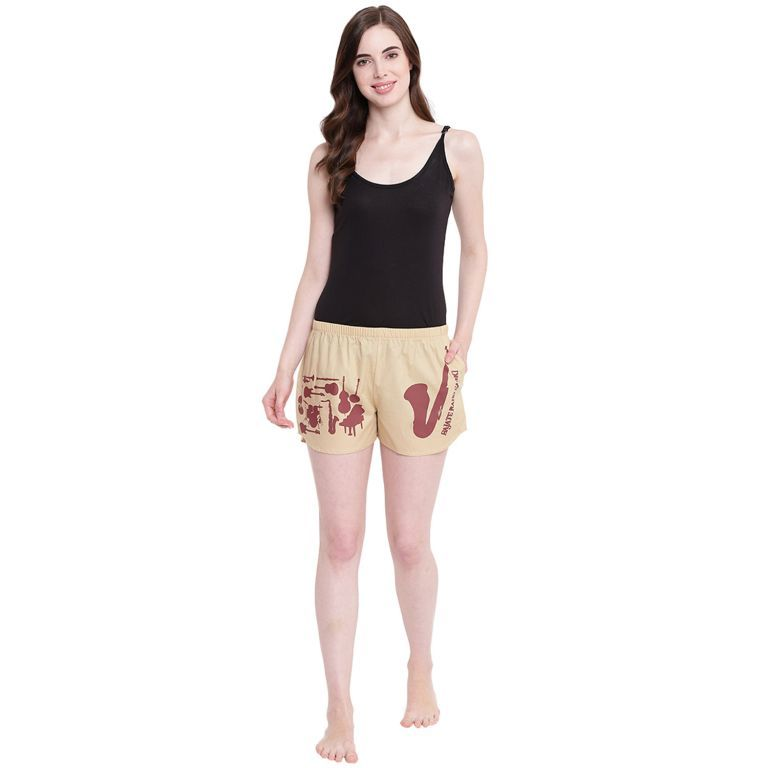 Buy La Intimo Bajaate Raho Saxophone Fawn shorts online