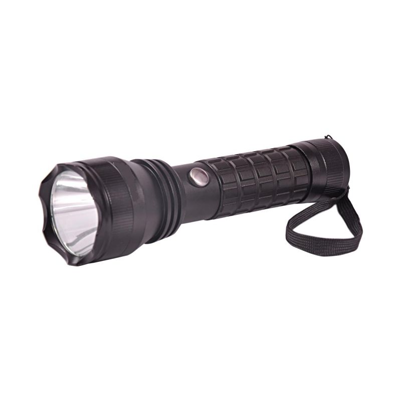 Buy Gor 600 Meters 3 Modes Rechargeable LED Flashlight 7 Inches Torch Black online