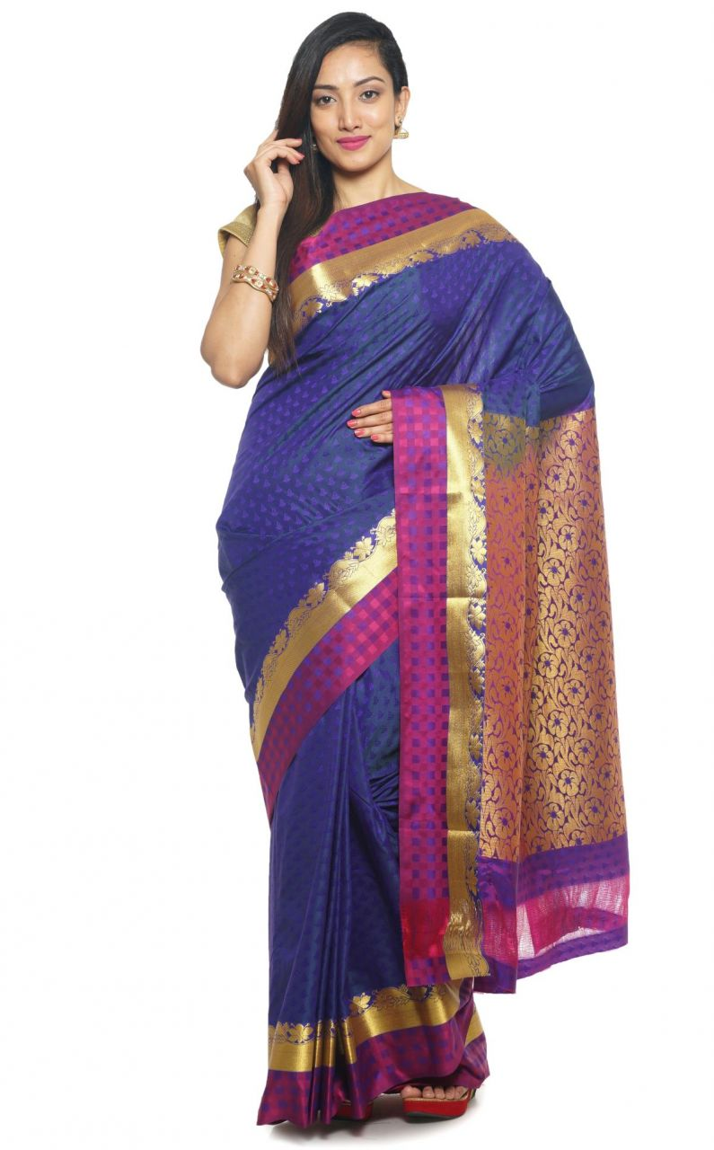 Buy Sudarshan Silks Sudarshan Rawsilk Blue Saree online