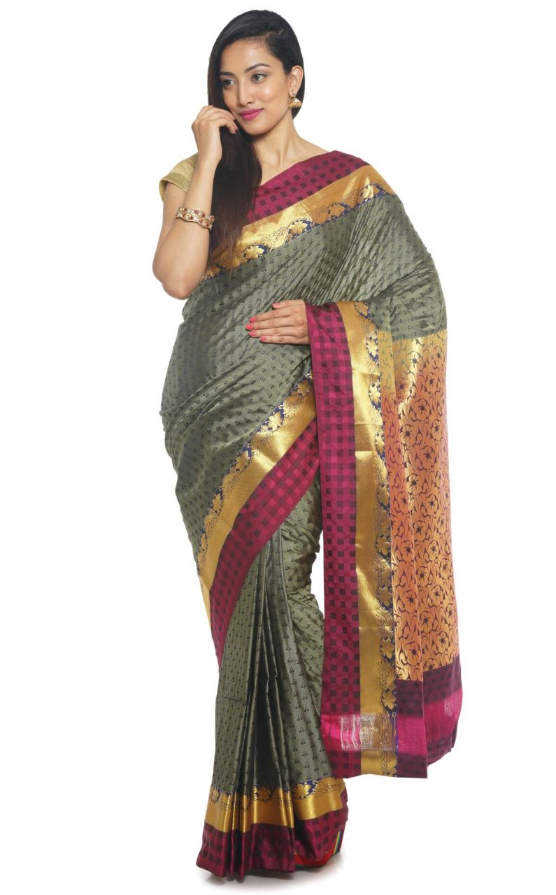 Buy Sudarshan Silks Sudarshan Rawsilk Grey Saree online