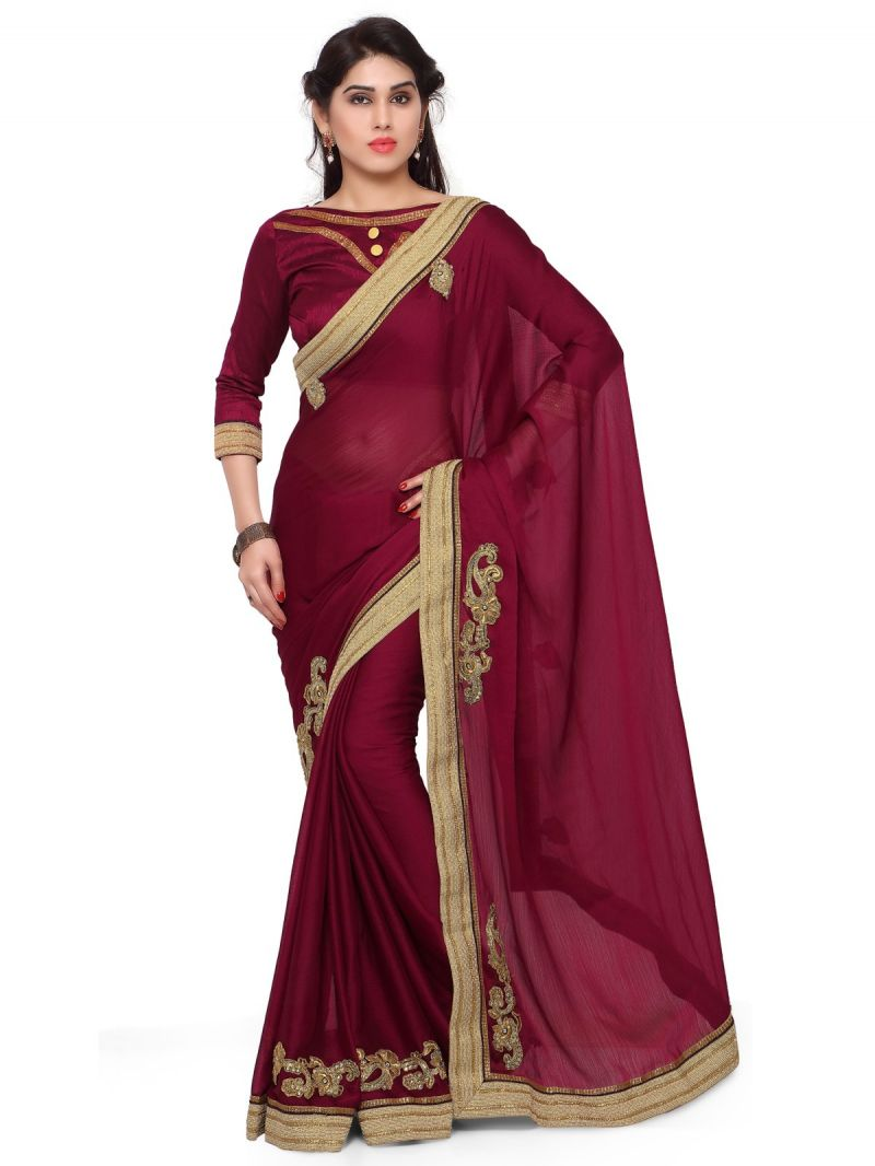 Buy Indian Women Maroon Color Moss Chiffon Saree (code - Inwga20366-mm) online