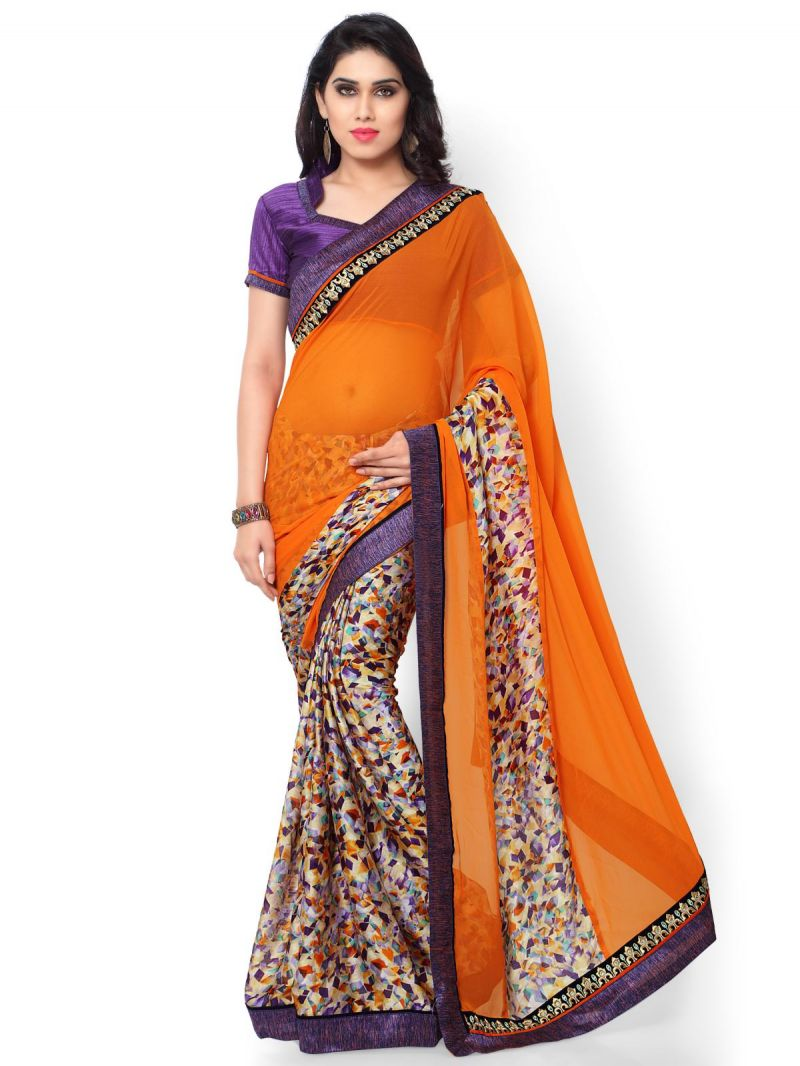 Buy Indian Women Satin Chiffon Print Multi Color Half And Half Saree (code - Inwic40513-mm) online