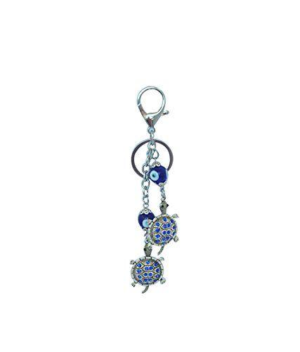 Buy Beautiful Metal Bejeweled 2 Torotise Evil Eye Key Ring Chain / Ring online