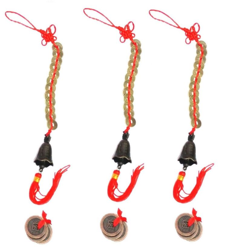 Buy 3 Sets Of Fengshui 3 Lucky Coin & 12 Coin Hanging Bell For Good Luck online