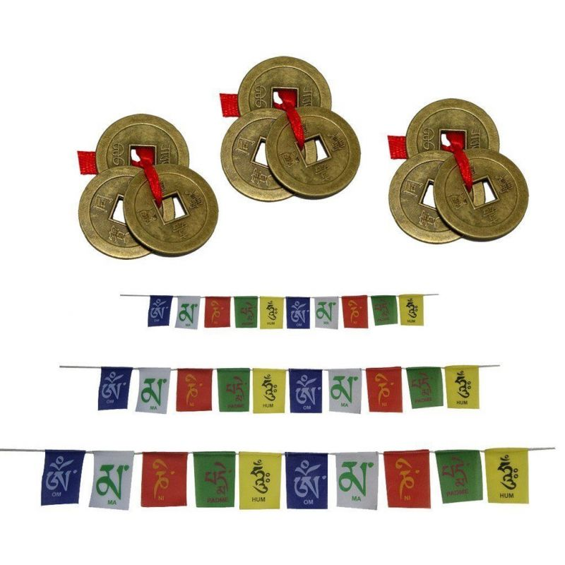 Buy Set Of 3 Tibetan Om Mani Padme Hum Multicolor Flags 3 Set Of 3 Lucky Coins online