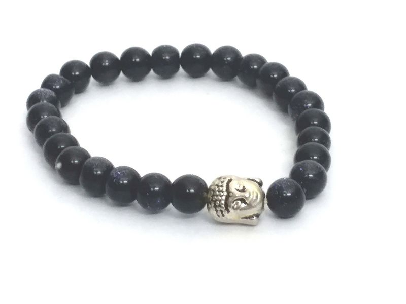 Buy Blue Gold Stone Power Buddha Bracelet ( 7 MM ) online