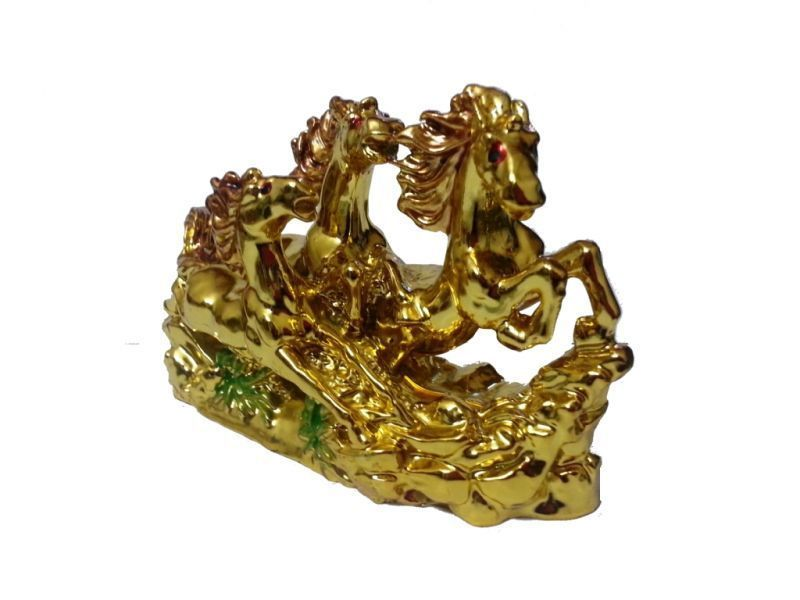 Buy Feng Shui Three Running Horses For Victory Fame And Luck (golden Color) online