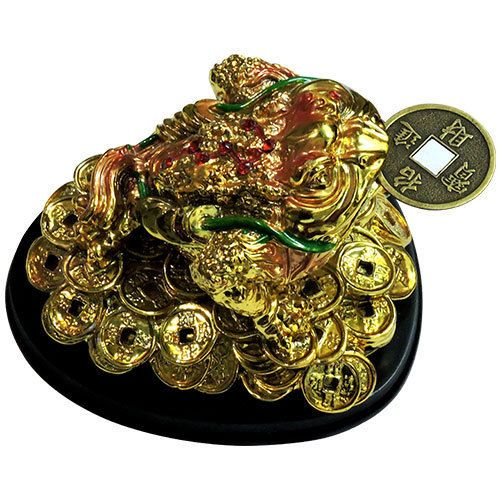 Buy Tri Leg Frog Feng Shui With Base (big) (golden Color) Money Frog Money Todd online