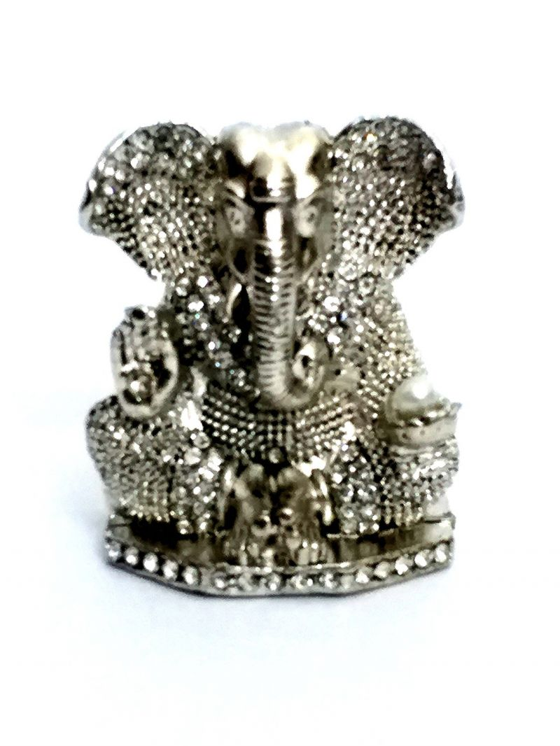 Buy Shree Ganesha Ji Metal Statue Antique Finished With Jerkin Diamonds For Your Car online