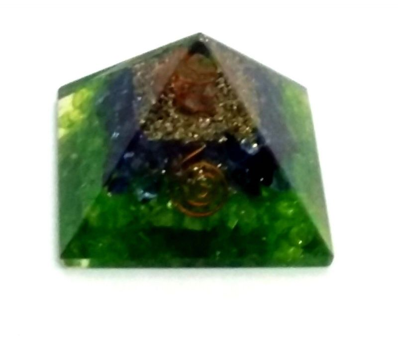 Buy Green & Purple Dyed Quartz Chips Orgone Pyramid ( 65 MM ) online