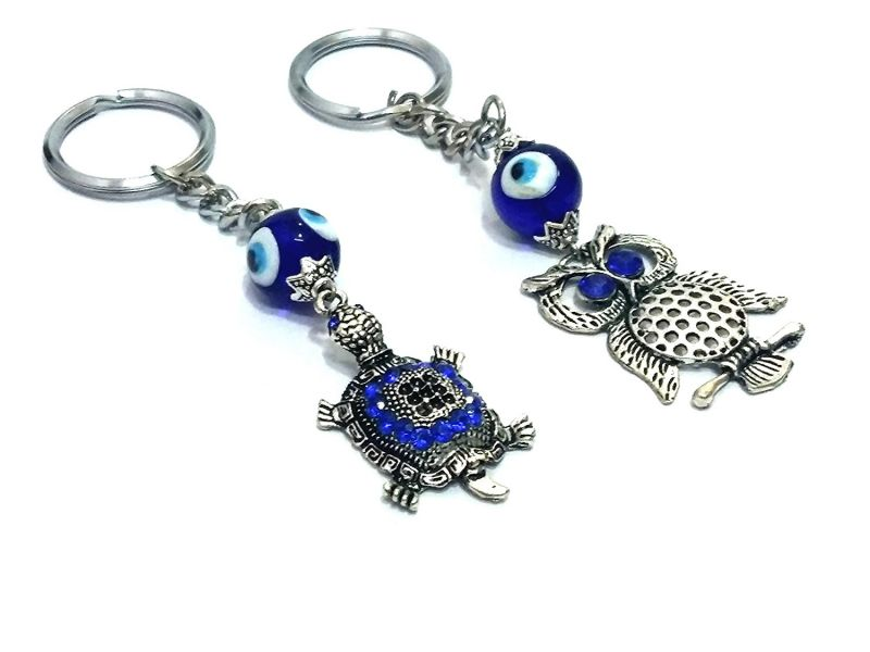 Buy Evil Eye Owl And Tortoise Key Ring / Chains online