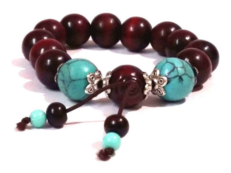 Buy Red Rosewood Buddhist Rosary Power Stretch Bracelet ( 15 MM Beed Size ) online