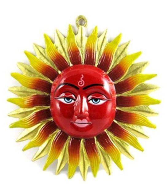 Buy Metal Sun God Wall Hanging (red Color) Surya Sun Hanging God Sun Statue online