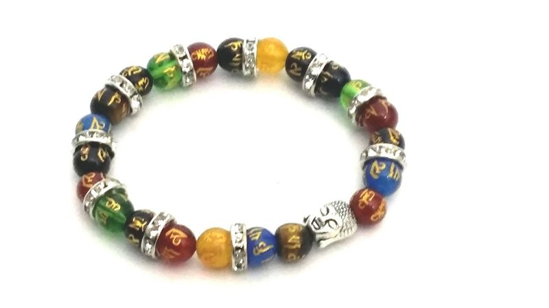 Buy Tibetan Multicolor Om Mani Engraved Semiprecious Stones Jircon Finished Bracelet online