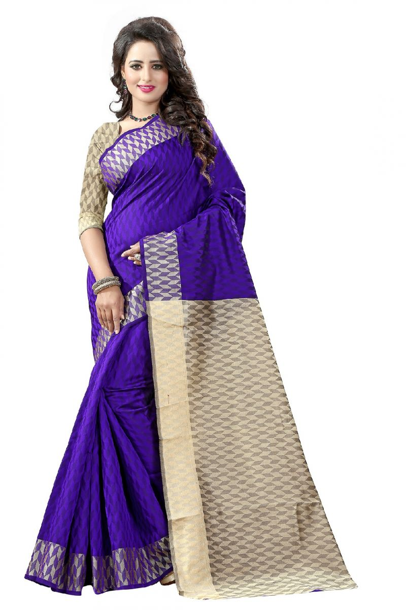 Buy De Marca Blue Colour Cotton - Silk Saree (product Code - 369-112) online