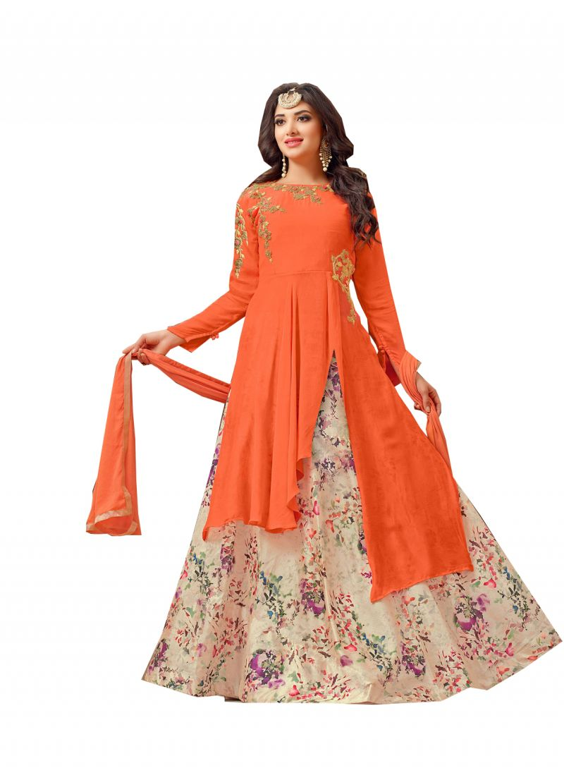 Buy De Marca Orange Colour Georgette Semi Stitch Top & Lehenga Material (code - De Marca 415-16) online