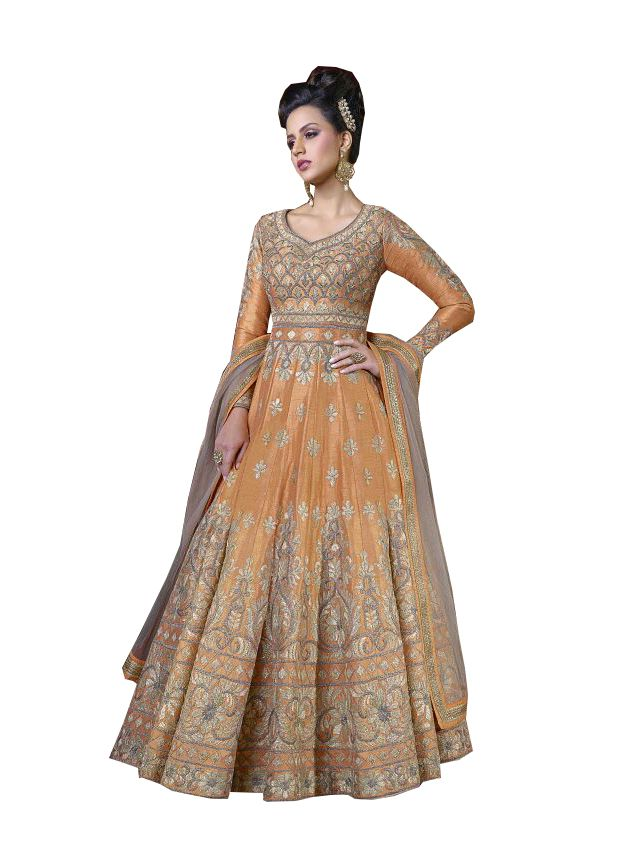 Buy De Marca Light Orange Colour Semi Stitched Silk Dress Material online