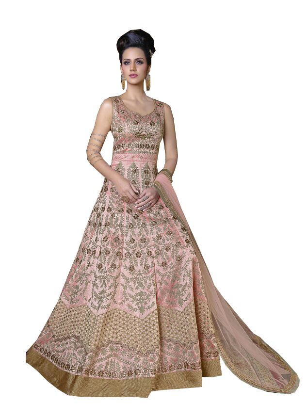 Buy De Marca Pink Colour Semi Stitched Silk Dress Material online