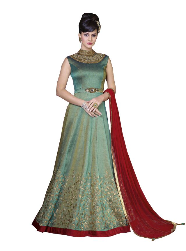 Buy De Marca Apple Green Colour Semi Stitched Silk Dress Material online