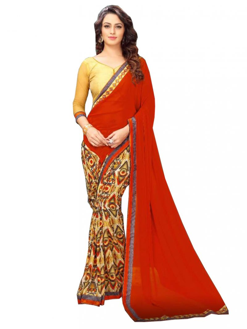 Buy De Marca Red Banglori Silk Saree online