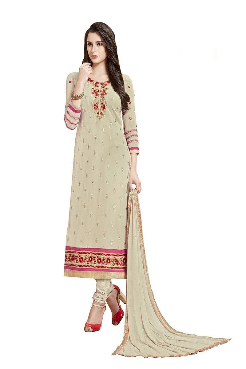 Buy De Marca Cream Colour Semi Stitched Georgette Dress Material online