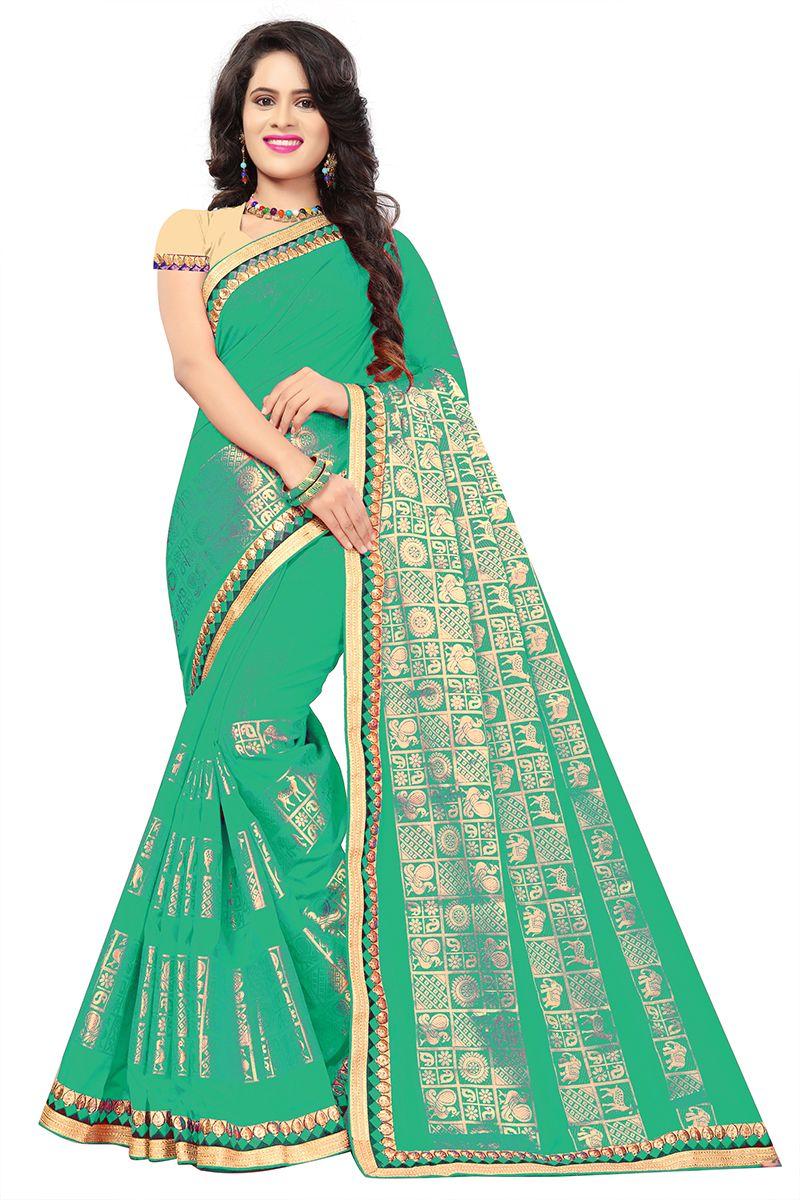 2efb2457d Buy De Marca Green Silk-Jacquard Saree Online