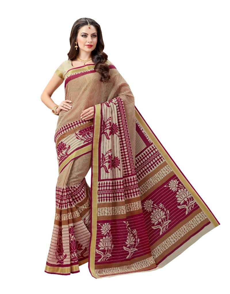 Buy De Marca Brown - Purple Cotton Saree (code - De Marca A6471) online