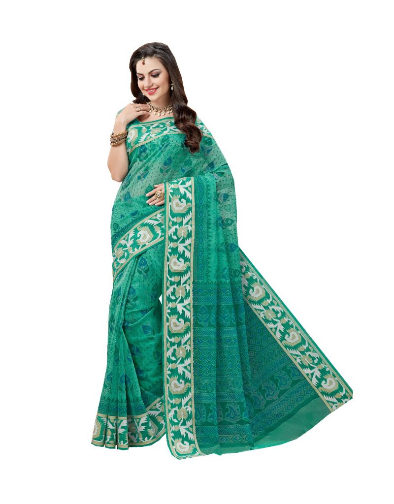 Buy De Marca Green Cotton Saree (code - De Marca A6474) online