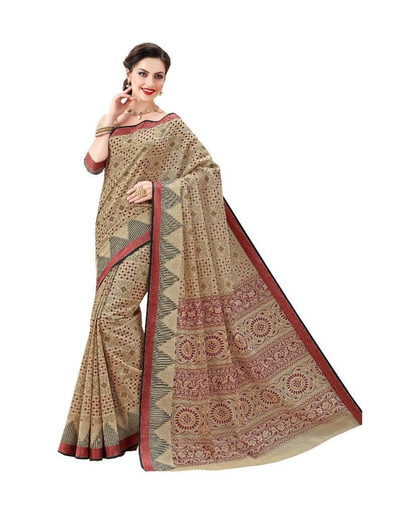 Buy De Marca Brown Cotton Saree (code - De Marca A6476) online