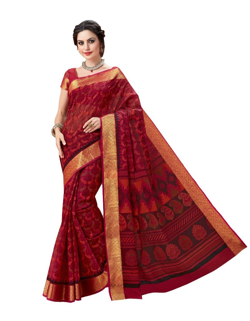 Buy De Marca Red Cotton Saree (code - De Marca A6482) online