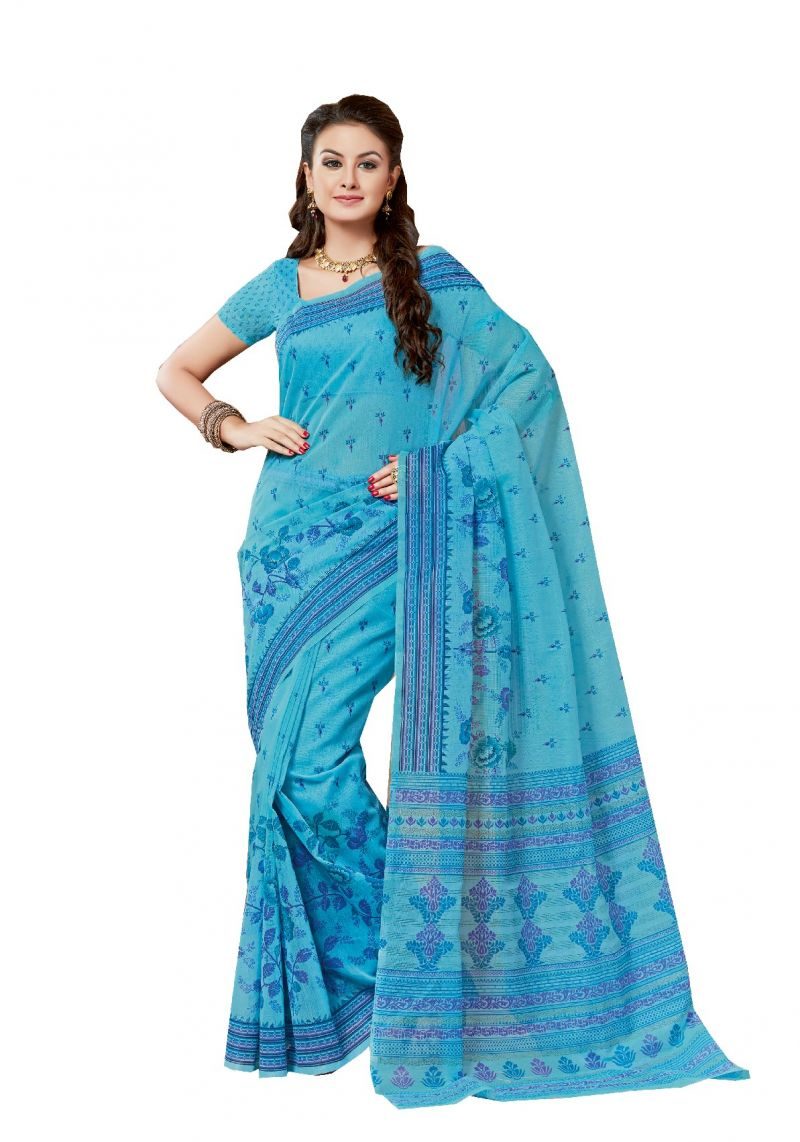 Buy De Marca Blue Cotton Saree online