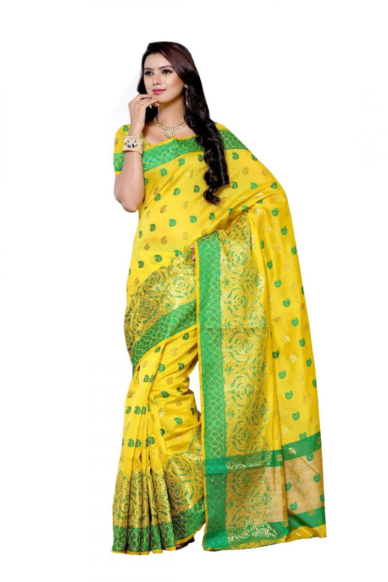 Buy De Marca Yellow Colour Art Silk Saree (product Code - Bf1989b) online