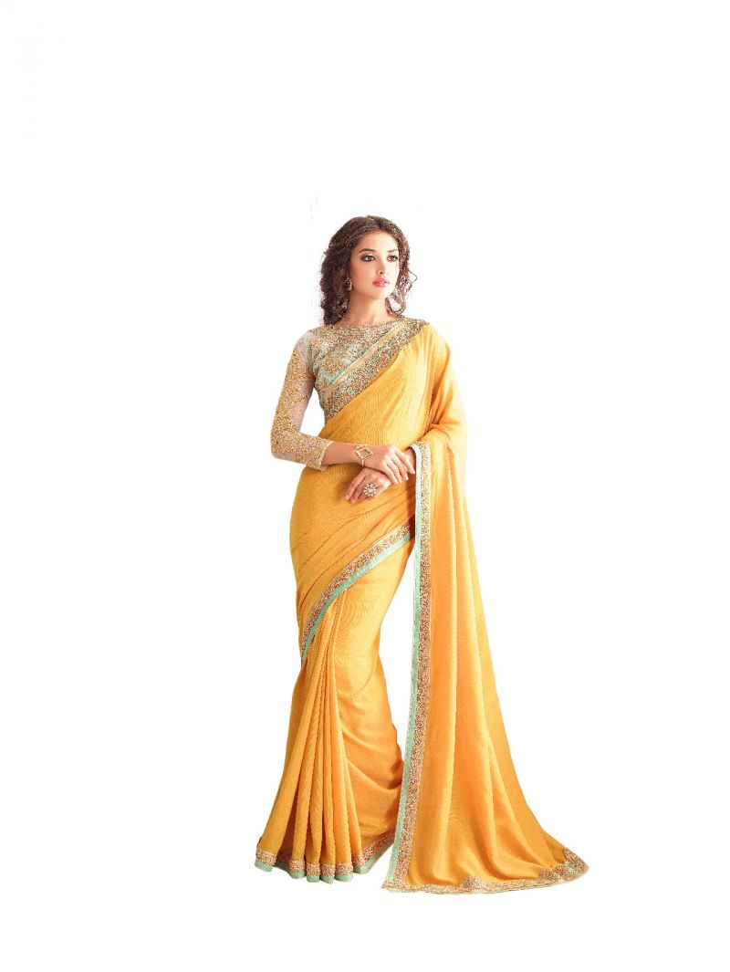 Buy De Marca Yellow Georgette - Silk Saree (code - De Marca Bf602) online