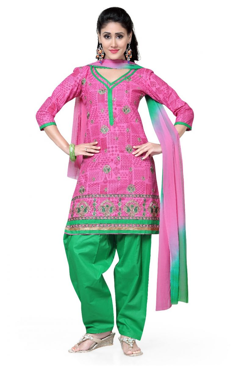 Buy De Marca Cotton Pink And Green Semi Stitched Salwar Kameez (code - Dm-103) online