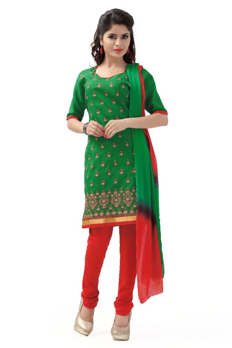 Buy De Marca Cotton Green And Red Semi Stitched Salwar Kameez online