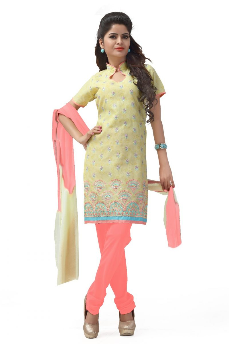 Buy De Marca Cotton Yellow And Pink Semi Stitched Salwar Kameez (code - Dm-123) online