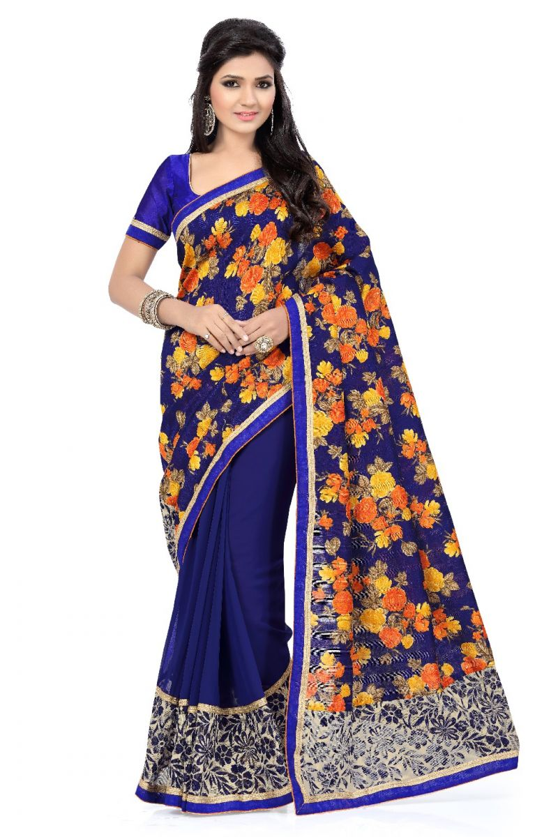 Buy De Marca Faux Georgette And Art Silk Blue Saree online