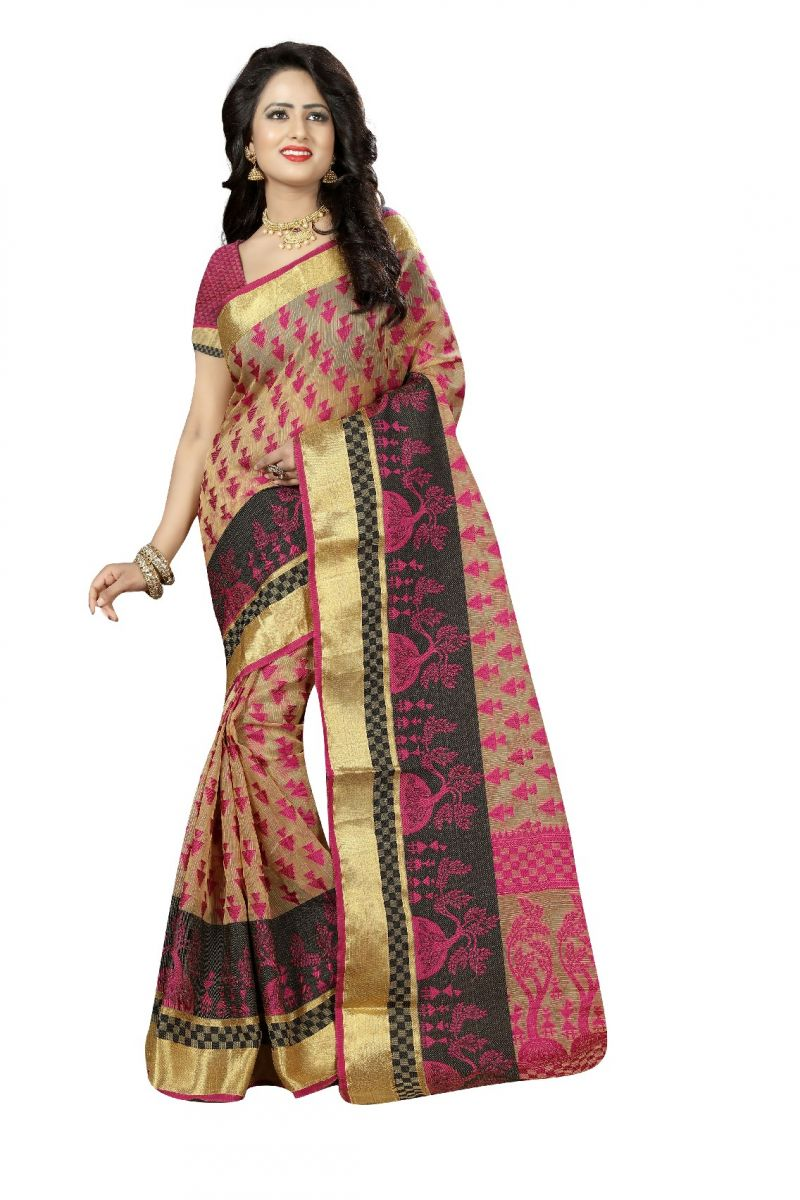 Buy De Marca Pink Poly Cotton Saree online