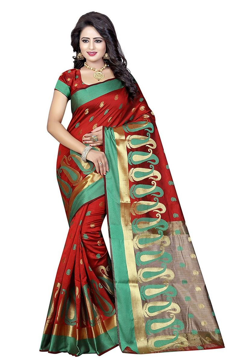 Buy De Marca Red Poly Cotton Saree online
